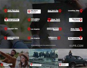 达芬奇字幕预设 16组4K地点标题景点地标地方动画文字旅游