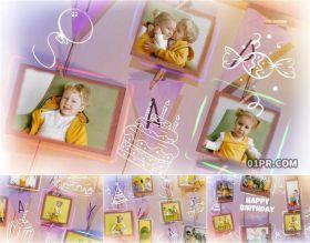 达芬奇相册模板 快乐生日手绘插图可爱儿童小孩32张照片70秒