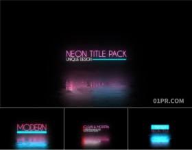 达芬奇字幕模板 12组霓虹灯发光闪烁赛博朋克动态标题文字