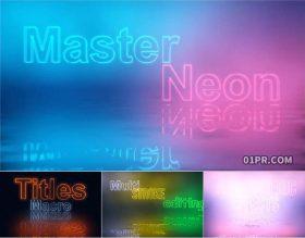 达芬奇字幕预设 8K霓虹灯闪烁发光赛博朋克动画文字标题
