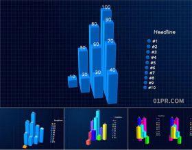 达芬奇预设 8K多列柱状图信息数据统计动态图表
