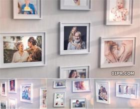 PR电子相册模板 简约炫光照片墙画廊婚礼家庭回忆