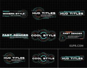 PR字幕模板 11组HUD未来超现代科技动画文字标题