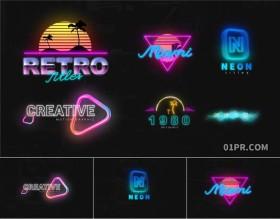 PR字幕模板 6组复古霓虹灯创意标题动画文字赛博朋克