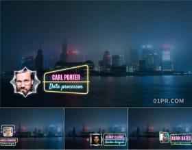 PR标题模板 12组4K霓虹灯发光动画文字人名字幕条