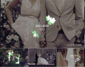 PR字幕模板 12组美丽花卉婚礼动画文字标题情人节周年纪念