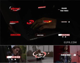 PR基本图形模板 10组4K时尚动画标题订阅点赞文字字幕