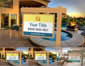 PR图形模板 4K房地产吊牌指示标题文字