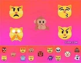 PR图形模板 20组4K动画搞笑表情符号小猫图标元素 PR素材包