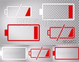 视频素材 4组动画耗尽电池电量不足元素透明背景PR/AE/FCPX