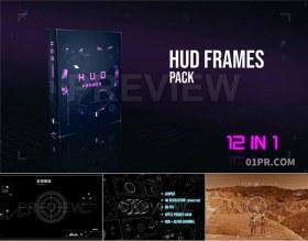 HUD动态边框特效未来科技 12组4K视频素材PR/AE/FCPX
