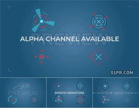 HUD目标校准对准瞄准动画元素 8组视频素材PR/AE/FCPX